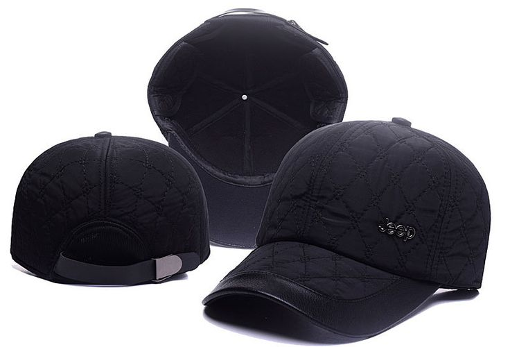 Men's / Women's Jeep Iconic Metallic Logo Leather Closure Cotton Curved Adjustable Hat - Black