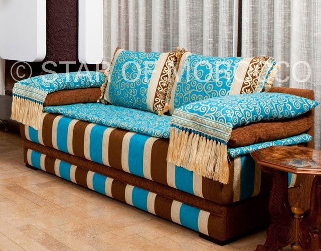 The Rockin' Brown And Turquoise Moroccan Sofa