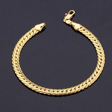 "[XmasSale]Men's  18K Gold Plated Figaro Chunky Bracelets 5MM 21CM With ""18K"" Stamp High Quality   – USD $ 4.99"