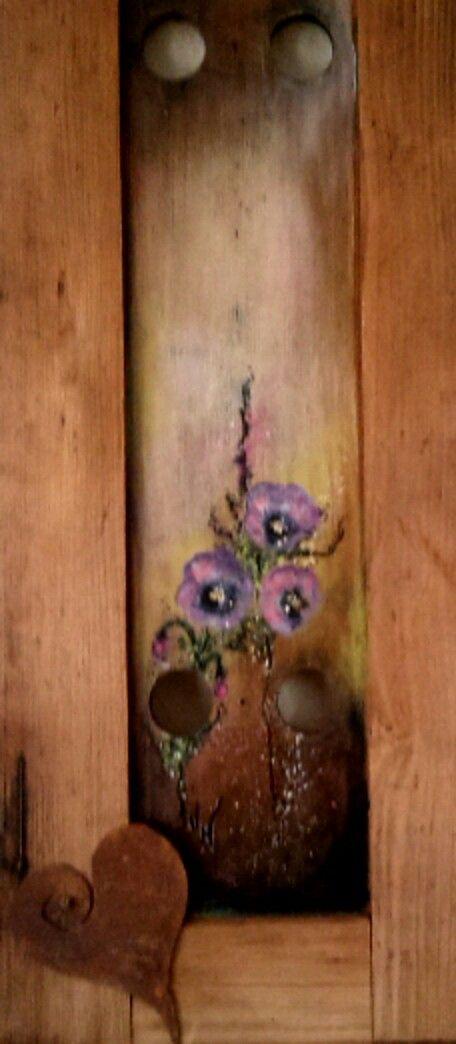 Acryl auf Holz-Fensterrahmen von Uschi Wiese