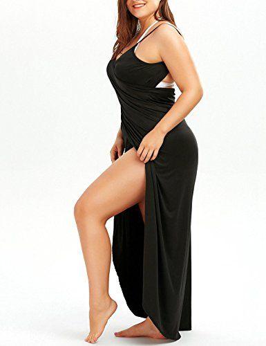 d30e720bdc9f6 Flygo Women s Plus Size Cover up Spaghetti Strap Backless Beach Wrap Long Dress  Swimwear