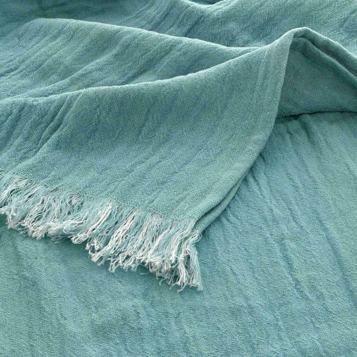 Plaid Doux En Coton Bicolore à Franges Dessus De Lit
