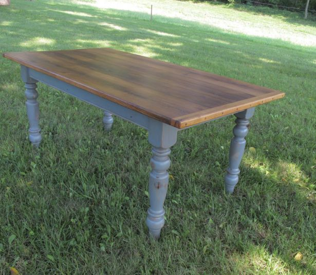 Oak Table Top With Slate Blue Legs See More At