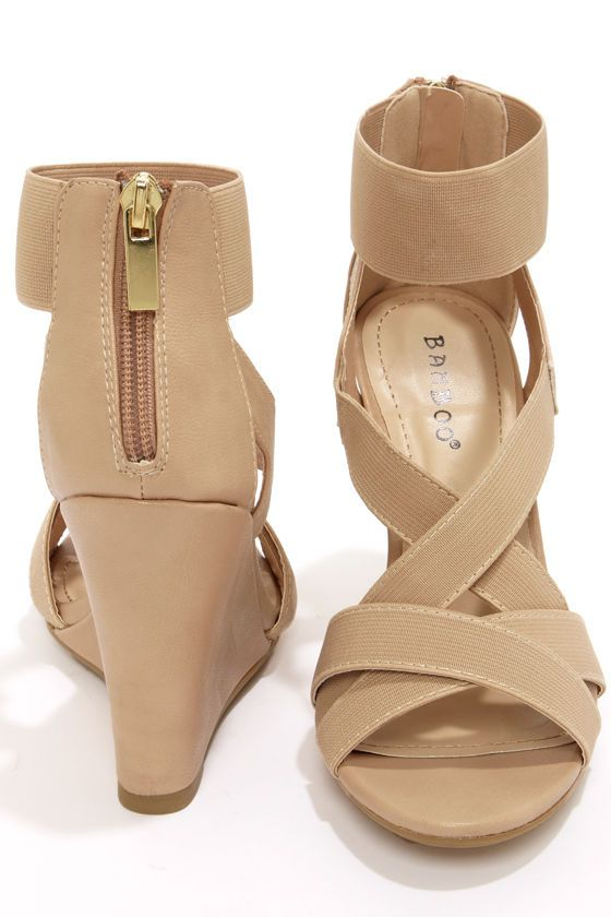 Bamboo Royce 17 Nude Strappy Wedges at LuLus.com! Would want nude or silver wedges for bridesmaids..wedges because we will be in grass