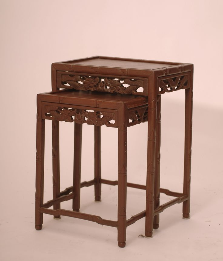 Antique Pair of Carved Nesting Side Tables - Harrington Galleries