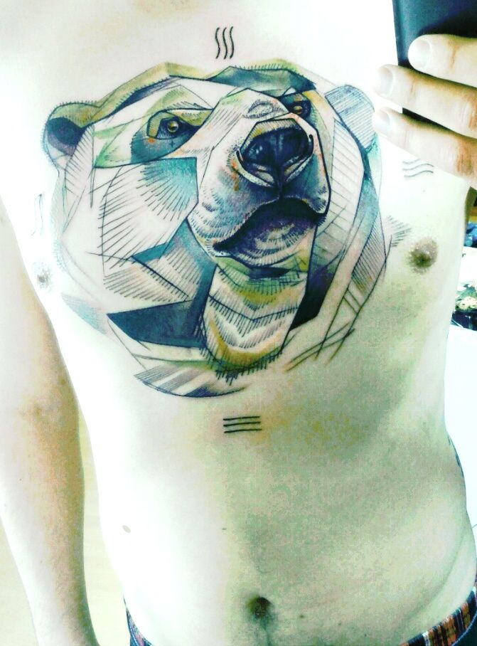 polar bear geometric style tattoo by Peter Aurisch