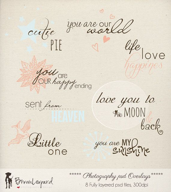 INSTANT DOWNLOAD  Photography Words Overlays 8  by BrownLeopard, $9.90