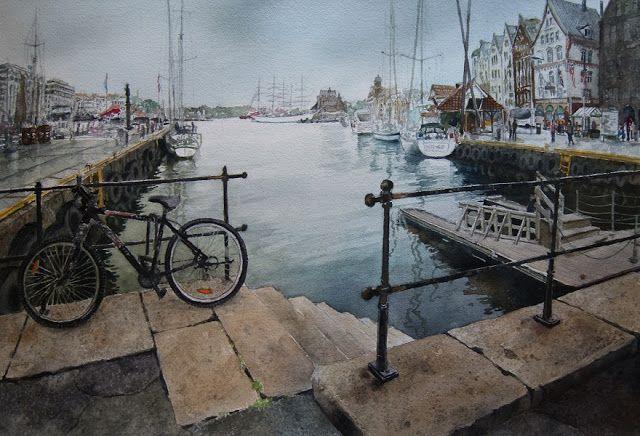 Kunstneren i Bergen: Akvarell fra Sachariasbryggen i Bergen