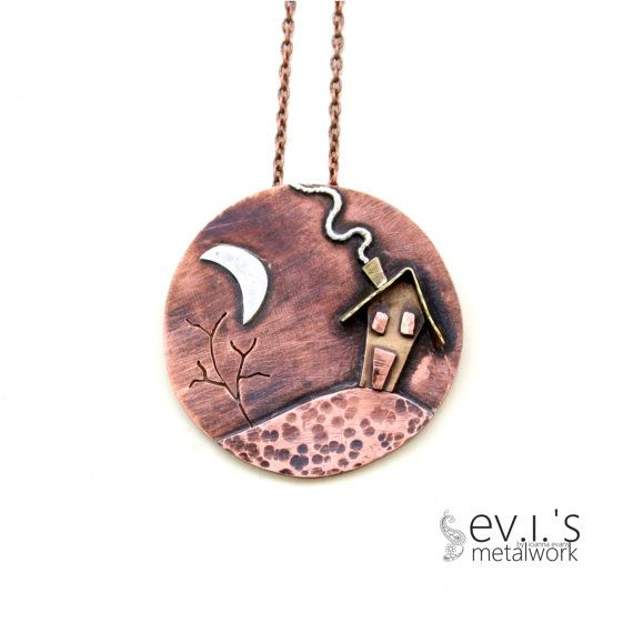 Mix Metal Moon House Night 3Layer Pendant by evismetalwork on Etsy, €38.00