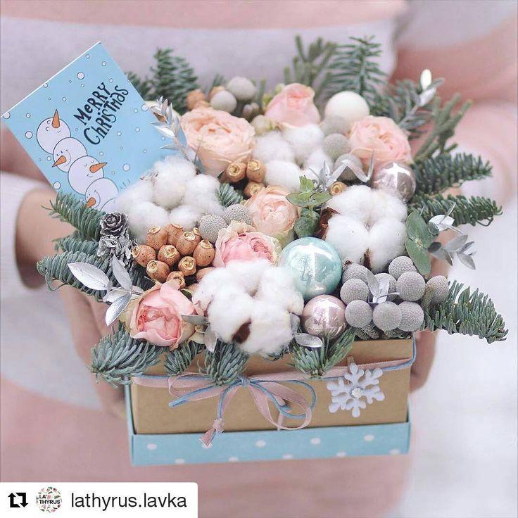 #Repost @lathyrus.lavka with @repostapp ・・・ Pastel winter ❄️❄️❄️#lathyruslavka #flowers#flowerbox #cotton #chrismasdecor#newyear #winter #winterbox