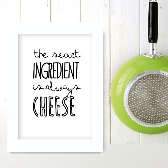 Kitchen art print  The secret ingredient... - cooking quote typographic food poster. $21.00, via Etsy.