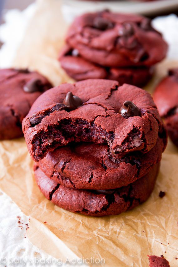 An easy recipe for soft-baked red velvet chocolate chip cookies made from scratch.