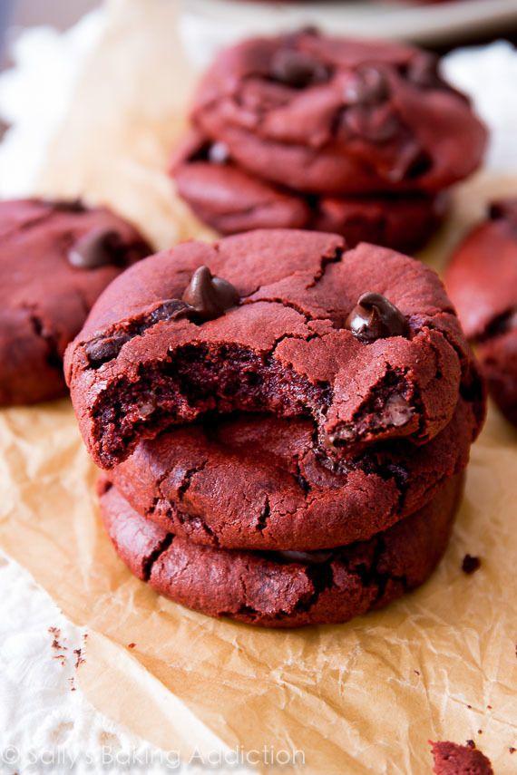 Soft-baked red velvet chocolate chip cookie recipe made from scratch! sallysbakingaddiction.com