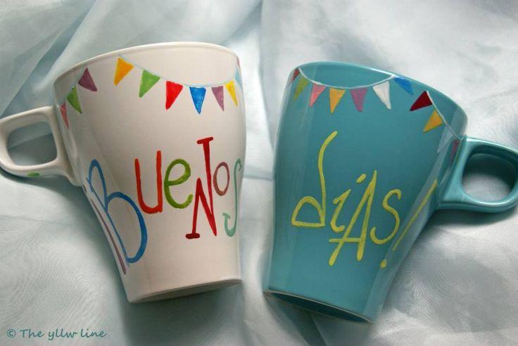 M s de 25 ideas fant sticas sobre cer mica pintada a mano - Tazas decoradas a mano ...