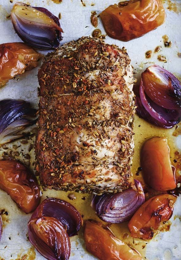 Roast Pork Loin Recipe (Pork, apples, and onions all get tossed on a single sheet pan and roasted for a simple yet insanely satisfying supper.)