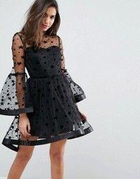 8d59f2fadb09 Boohoo Ruffle Trim Star Print Mesh Mini Dress in 2018 | Casual, chic & to  die for dresses | Pinterest | Vestidos, Vestidos cortos and Vestidos  elegantes