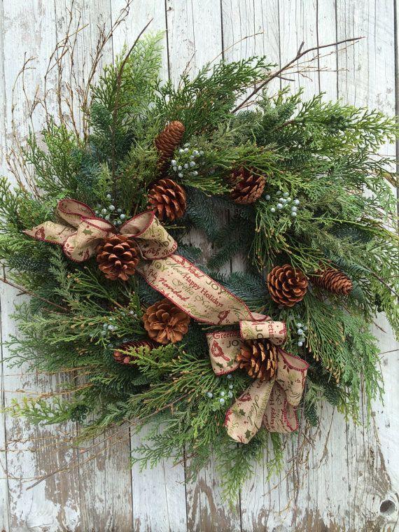Large Christmas Wreath, Large Christmas Wreath for Door, Outdoor Holiday Wreath, Artificial Pine Wreaths for Christmas