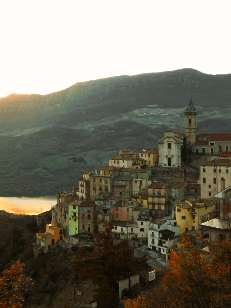 Coledimezzo Abruzzo Italy -- Lake view Colledimezzo hangs on a hill looking down on a lake -