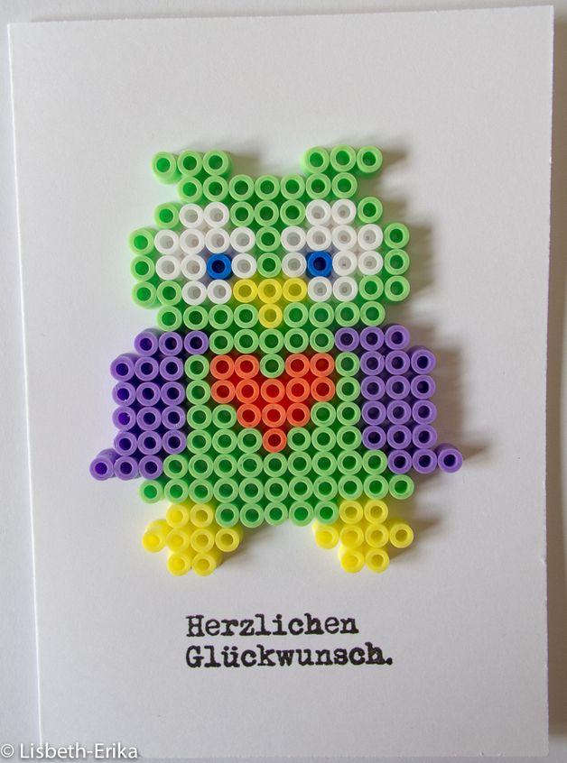 Glückwunschkarte Eule Hama Bügelperler von Lisbeth-Erika