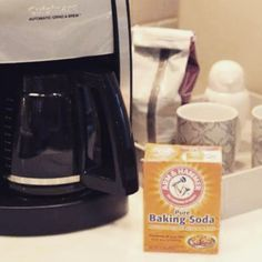 Your coffee maker should be cleaned once a month to prevent bacteria, mold and mildew. Fill the pot a quarter of the way full and add 1/4 cup baking soda. Stir untill the soda dissolves and run the solution through your coffee maker. Next, run another cyc
