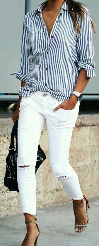 White jeans and heels ♡