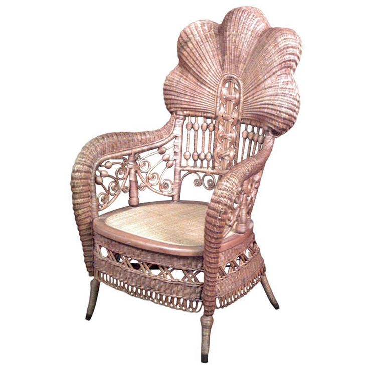 19th C Heywood Brothers Fanned Back Wicker Armchair