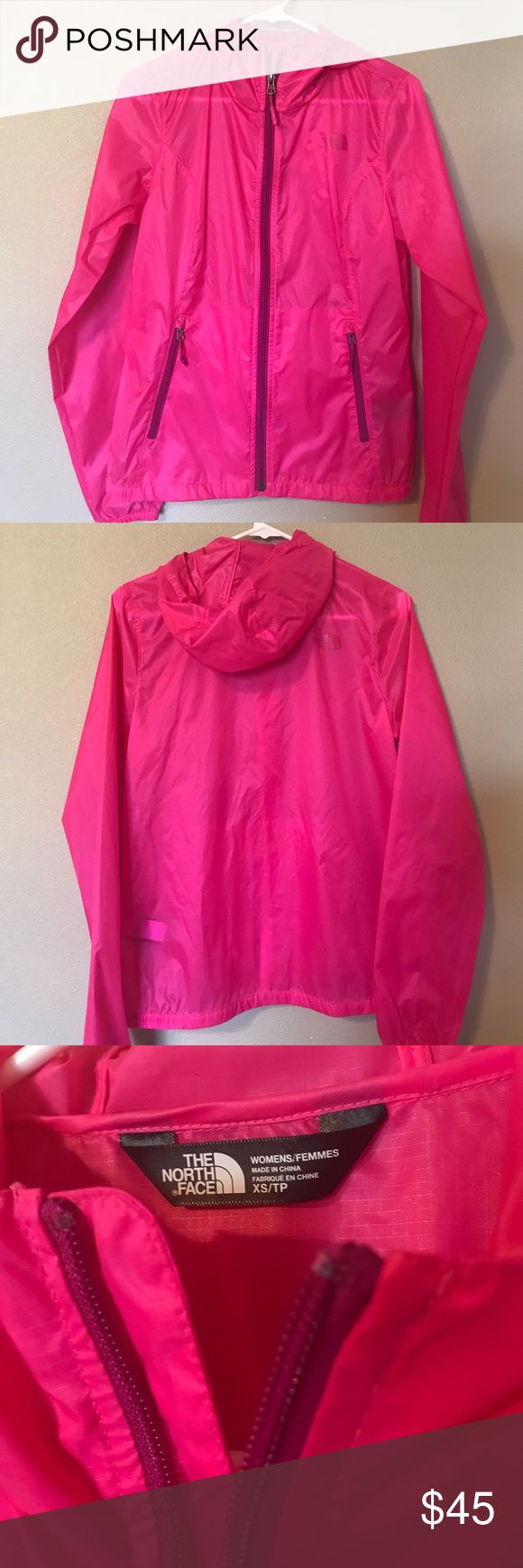 Neon Pink North Face Windbreaker/Rain Jacket NWOT North Face Pink Rain Jacket/Windbreaker; Women's XS; Lightweight/Sheer; Has hood & two front pockets; Smoke Free Home; No Trades The North Face Jackets & Coats