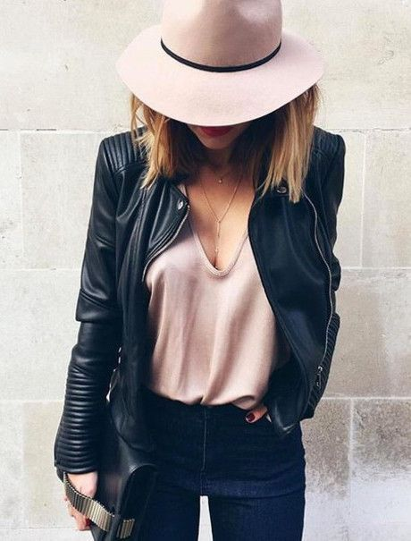 nude hat + motojacket cool outfit idea