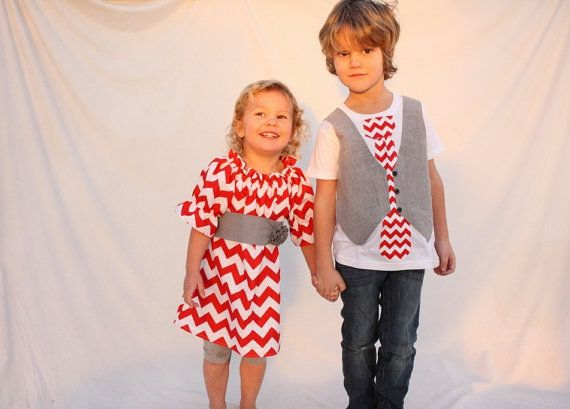 Brother sister Christmas Chevron outfits
