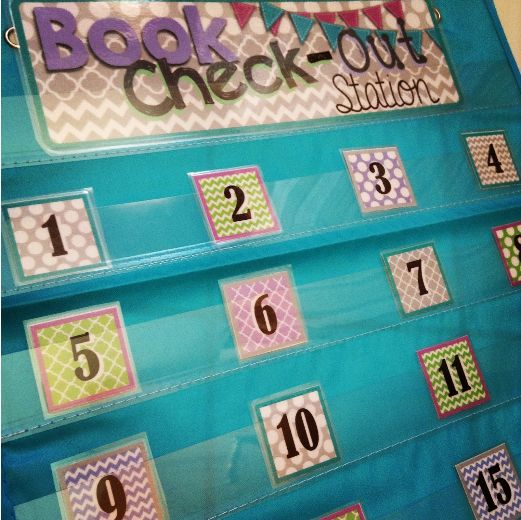 Classroom library checkout system freebie -- use with smal pocket from the Target dollar aisle.