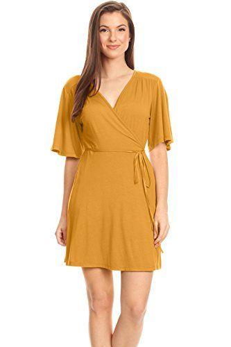 41902d6b9cbf5 Mustard Yellow Wrap Dress Plus Size and Reg V Neck Surpli... https