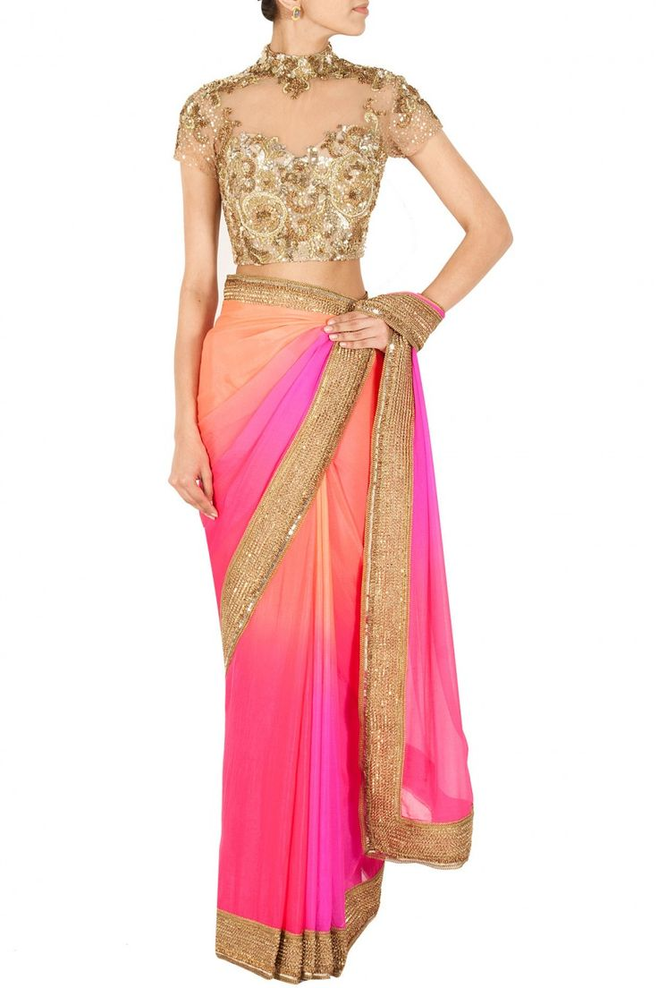 Colourful saree. Gold saree blouse. Indian wedding clothes great for a pre wedding ceremony