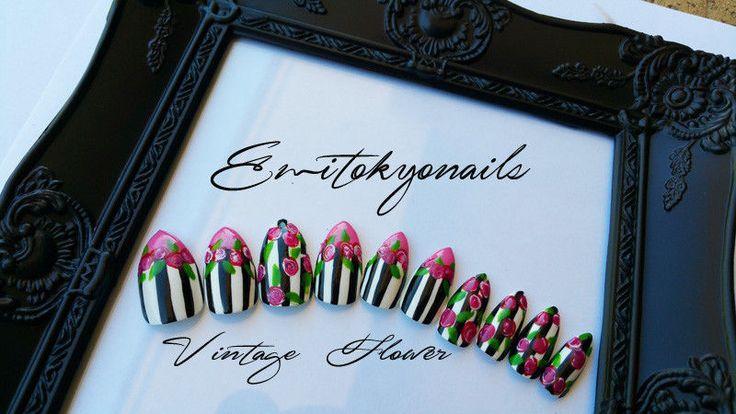 Vintage Flower,20 Nails,Press on Nails,Stiletto Nails,UV Gel top coat