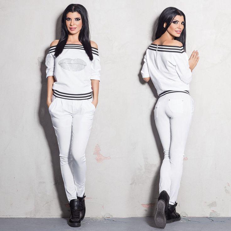 FOGGI Damenoverall Overall Weiß Einteiler Catsuit Hausanzug S - M #F9