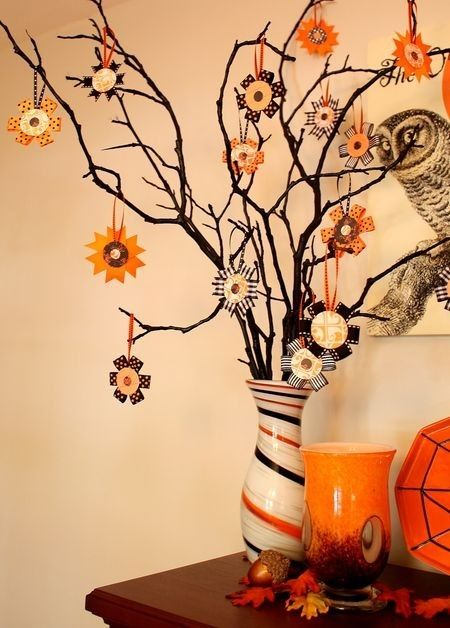 make a halloween tree and hang these spunky halloween ribbon ornaments from its dead lifeless branches making fabric flowers from ribbon for halloween is - Halloween Tree Ornaments