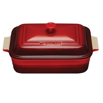Le Creuset Covered Rectangular Casserole, 4.5 qt. - Cherry - Le Cookery USA