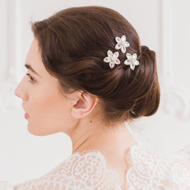 Silver wedding hair pins with crystal flower (x3) - 'Lena'
