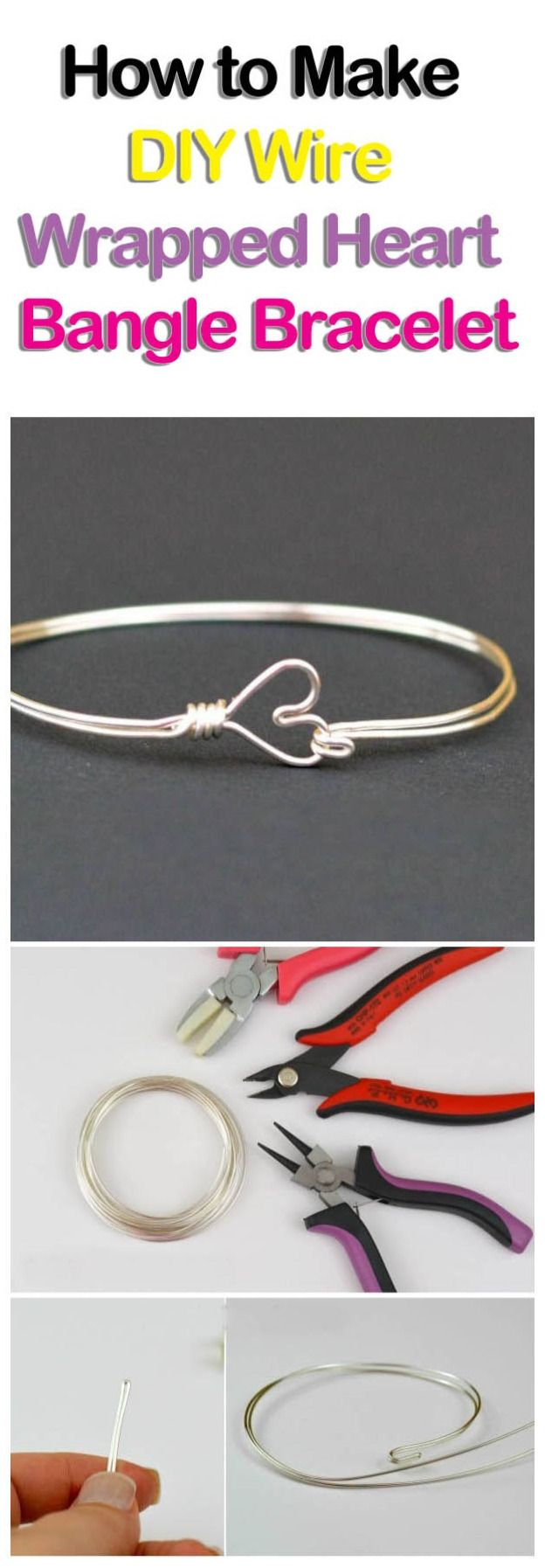 How to Make DIY Wire Wrapped Heart Bangle Bracelet