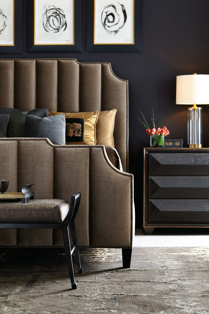 Indulge in a brown on black, dark chocolate bedroom with an old Hollywood glam vibe with this luxurious bed from Bernhardt! Find your luxury bedroom at West Coast Living