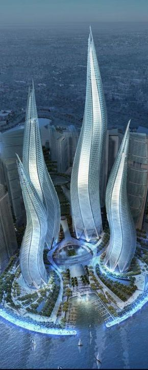 Dubai Towers, The Lagoons in Dubai, UAE, by Thompson, Ventulett, Stainback & Associates (TVS) Architects :: 57 floors, height 550m :: vision