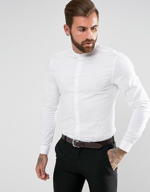0c9ed9c7 DESIGN skinny shirt in white with grandad collar in 2019   clothes ...