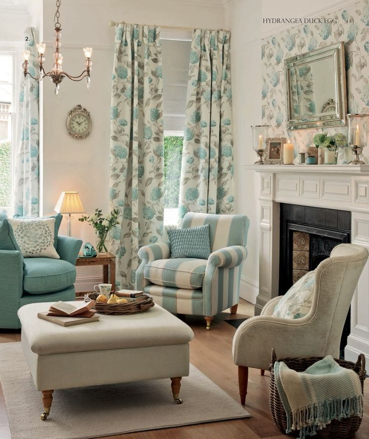 Living Room Decor in muted tones of duck egg, aqua and cornflower blue.