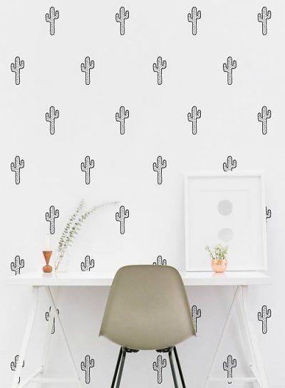 wit behang met zwarte cactus print - Minirockstar - Originele en eigentijdse collecties voor urban kids