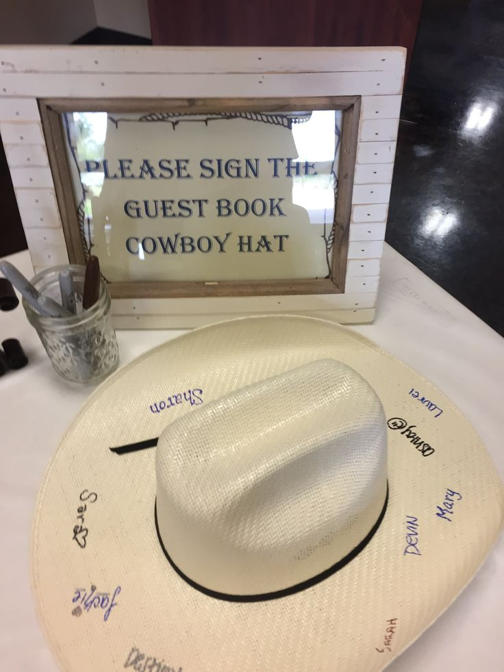 Western Baby Shower- cowboy hat as guest book