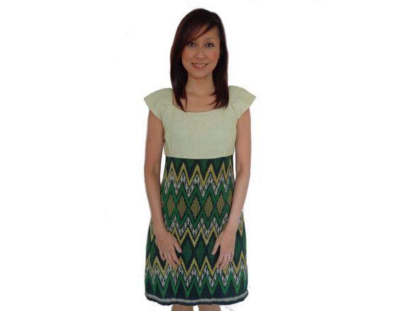 Brand New. Handmade Woven Dress Green. Loom by SignatureofNana