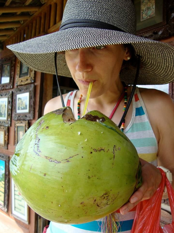 Loving some young green coconut water.  Straight up. xx Carole