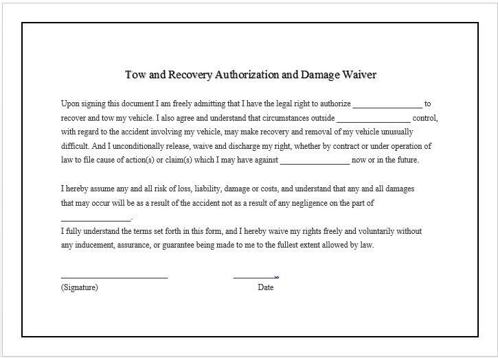 Damage Waiver Printable Name Tags List Of Jobs Templates