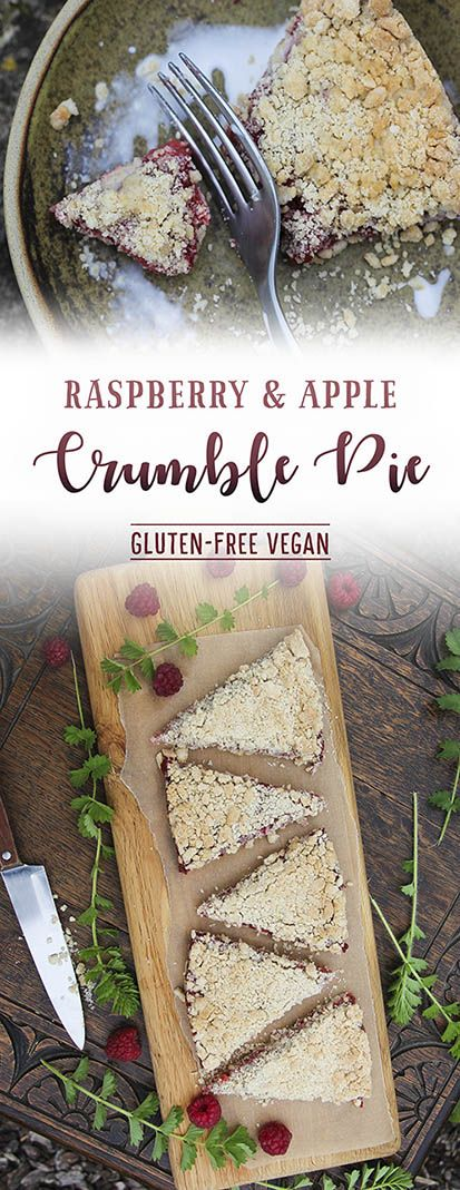Gluten-free, vegan raspberry & apple crumble pie by Trinity