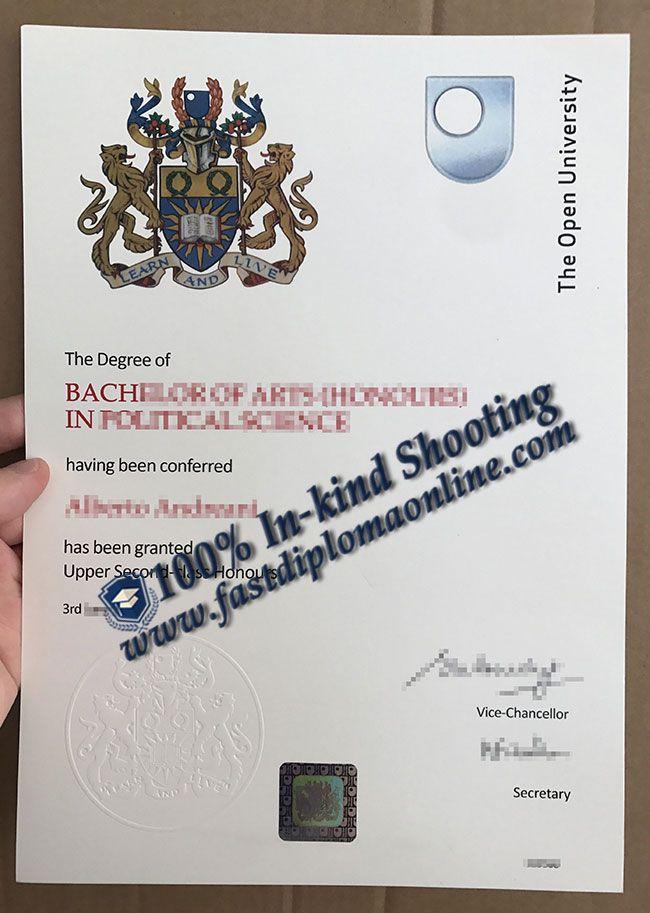 open university degree certificate sample, open university