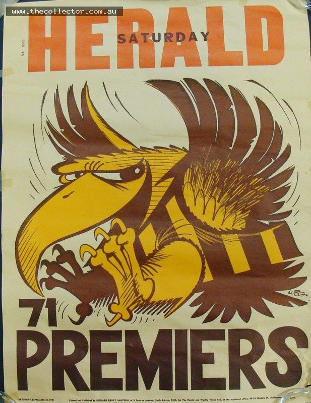 Lot 351 - 1971 Weg Hawthorn Football Club Premiership Poster - no 4357